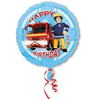balloonisima XL Foil Balloon Fireman Sam Motif with Happy Birthday Lettering 43 cm Ideas for Birthday Valentine