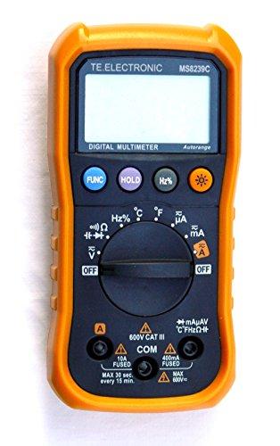 Autorange-Digital-Multimeter MS 8239C 3,75-stellig (0-3999) mit 36 Meßbereichen: 5x Gleichspannung (DCV), 4x Wechselspannung (ACV), 5x Gleichstrom (DCA), 5x Wechselstrom (ACA) 6x Widerstand, 6x Kapazität, Diodentest, Akustischer Durchgangsprüfer, Frequenz, relative Einschaltdauer (duty cycle) und Temperatur.