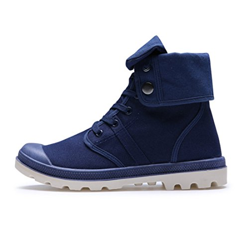 Men's Lace Up High Style Paladins Canvas Shoes blue