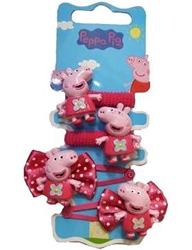 Peppa pig - peppa pig set 2 fermagli + 2 elastici per capelli - pigacc-ferela
