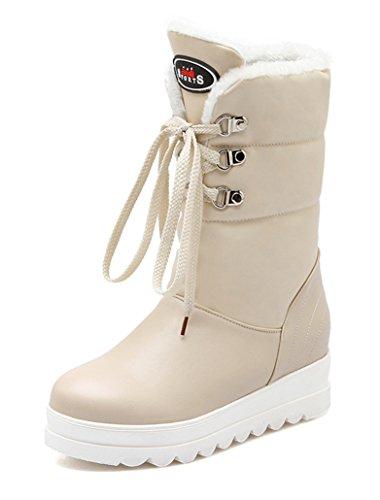 Schuhe Damen Outdoor Gefütterte Worker Und Boots Schnürung Fell Beige Warm Nieten Stiefeletten Winter Flache Ye Mit Schneestiefel Bequeme Plateau BpqdTwT