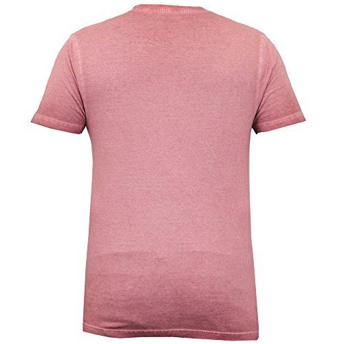 Herren T-shirt Brave Soul Burnout Kurzarm Rundhalsausschnitt California Los Angeles Pink - 395BATRA