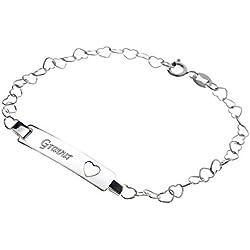 925 Sterling Silber Damen Armband in Herzform mit Wunschgravur 19cm ideales Geschenk für die Frau oder Freundin