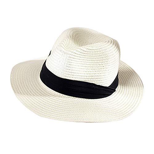 GAOXUQIANG Frauen Stroh Sommer Fedora, Panama Trilby Sonnenhut mit breitem schwarzem Band und breiterer Krempe
