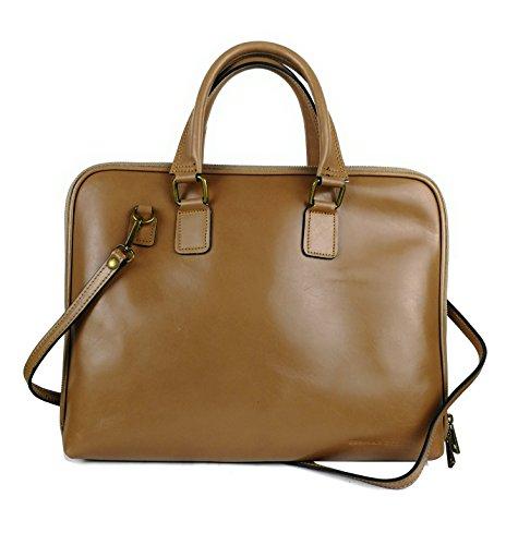 Zerimar Damen Leder Aktentasche Umhängetasche mit großer Kapazität Weiches Leder laptop leder tasche frau Tasche für Dokumente Farbe tan Größe 36x28x6 cm. (Leder Tan Aktentasche)