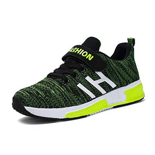 Goalsse sneakers bambini ragazzi scarpe da corsa ragazzi scarpe sportive scarpe casual sneakers basse con velcro antiscivolo da corsa sneakers (35 eu, verde)