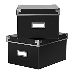 ikea aufbewahrungsbox kassett 2er set regalkisten mit. Black Bedroom Furniture Sets. Home Design Ideas