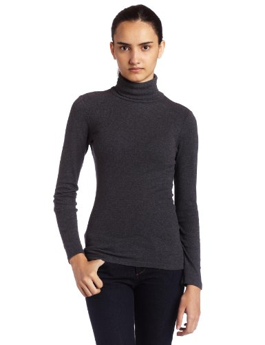 Splendid Womens 1X1 Long Sleeve Turtleneck Top, Charcoal, Large (Layered Tee Womens)