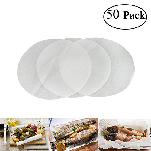 niceEshop(TM) Baking Parchment Circles Non-Stick Parchment Paper, Baking Paper Liners for Round Cake Pans,8 Inch Diameter, 50pcs