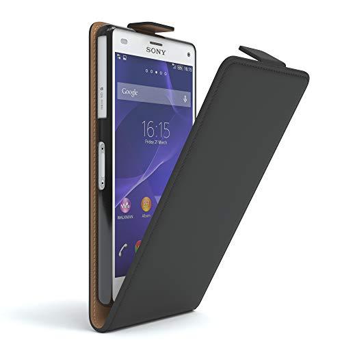Sony Xperia Z3 Compact Hülle Flip Cover zum Aufklappen I von Eazy CASE I Handyhülle aufklappbar, Schutzhülle, Flipcover, Flipcase, Flipstyle Case vertikal klappbar, aus Kunstleder, Schwarz
