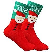 CAOLATOR Calcetines Algodón Navidad Otoño e Invierno Más Gruesos Calcetines de Cálidos Calcetines Mediano Largos Femeninos Lindos Navidad Accesorios-Anciano