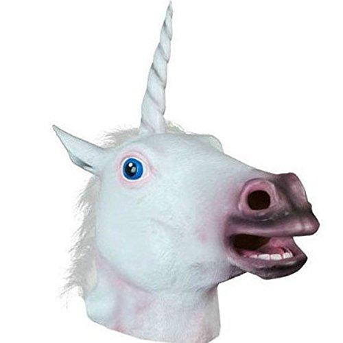 ke für Halloween Maske latex Fasching Latex Vollmaske Tiermaske Kostüm (Einhorn) (Latex Einhorn Maske)