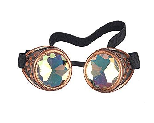 DODOING Kaleidoskop-Brille Steampunk, Goggles mit Rainbow Crystal Gläser - für Weihnachten, Halloween, Cosplay, Tanzparty, Convert, Musik Festival, EDM, Light Show, Foto Stütze, Sports