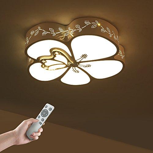 Led Deckenleuchte Deckenlampe Dimmbar mit Fernbedienung 36W SchmetterlingsformmitBlumen Fur Wohnzimmer, Kinder Zimmer,Schlafzimmer, Küche und Esszimmer JDONG 10602HD-36W-HWN