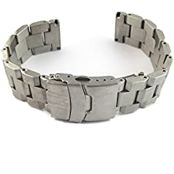 MapofBeauty Precision Stainless Steel Bracelet With Push Button Deployment Buckle(Silver & 24mm)
