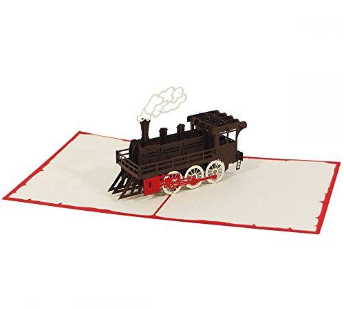 Dampflokomotive - Klappkarte / 3D Pop-Up Karte - Geburtstagskarte, Grußkarte, Glückwunschkarte, Reise-Gutschein, Einladungskarte für Eisenbahn-Begeisterte