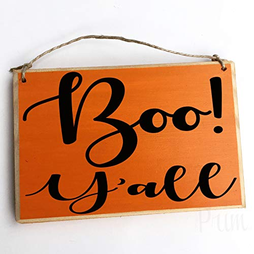 Yohoba Boo! Y'all Autumn Fall Halloween Give Thank Pumpkin Spice Thanksgiving Gatherrustic Wall Art Home Family Decoration Design Holzplakette Schild