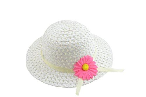 SAMGU Mädchen Kind Strand Hüte Blumen Strohhut Kappe Kind Sommer Hut Farbe Weiß