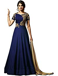 F4style Bollywood Designer Blue Silk Anarkali Salwar Suit with Dupatta ER10496