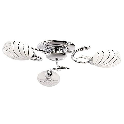 Lustre plafonnier discrete avec design moderne et armature en métal couleur chrome et plafonniers en verre couleur blanche mat, pour salon ou chambre, pour bas plafond 3 ampoules non-incl. 3 x 60W E14 230 V