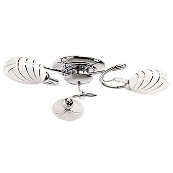 MiniSun Plafonnier moderne moderne en métal chromé et verre blanc mat 13 cm 3 ampoules Ø 60 cm Lumière directe Salon Chambre Couloir Cuisine exkl.3 * 60W E14