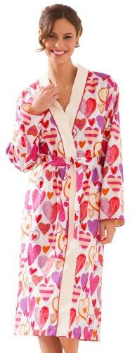 Morgenstern, Damen Bademantel lang, Gr. M, Kimonokragen, bunt bedruckt mit Herzen, Baumwolle