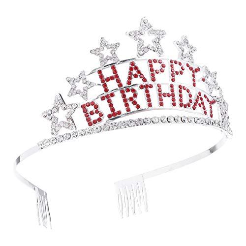 Frcolor Happy Birthday Krone mit Kamm Prinzessin Stirnband Strass Tiara Kristall Kopfbedeckung für Mädchen Frauen (Birthday Erwachsenen Happy)