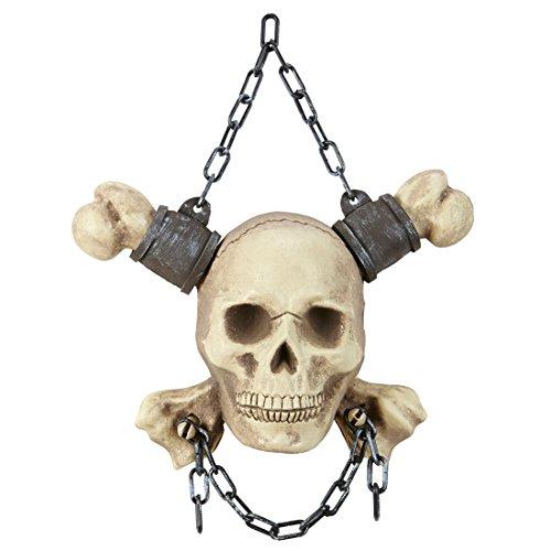 lloween Deko - 28 cm - Skull Figur für Wand Totenschädel Halloween Dekoration Skelett Knochen Wanddeko Piraten Mottoparty Totenkopf in Kette ()