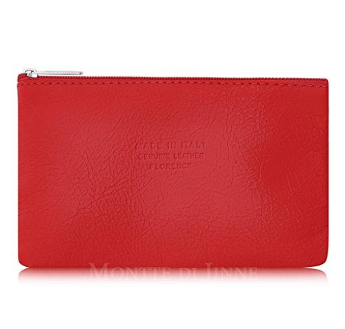 Italienische Reise-geldbörse (Echtes italienisches Leder Beauty Make Up Kosmetik Tasche Coin Geldbörse Utensilien Toilettenartikel Fall mit Reißverschluss Tasche in verschiedenen Größe und Form Rot Medium red)