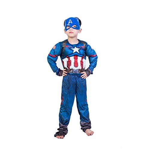 Für Kostüm America Kleinkind Captain - KAKAFASHION Halloween-Kostüm, Muskel, Iron Man, Captain America, Superman, Batman, Spider-Man, Grün, Riesen-Optimus Prime-Serie, geeignet für Jungen S-L 90-135 cm