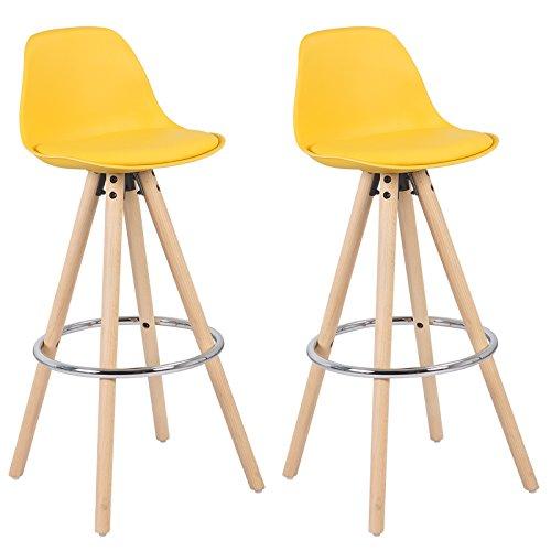 Woltu bh45gb-2 sgabelli da bar sedia cucina con schienale plastica ecopelle gambe legno giallo 2 pezzi