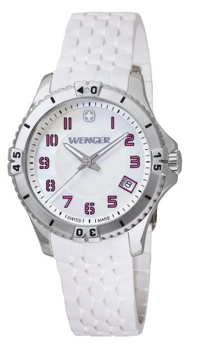 Wenger Squadron Women's Quartz Watch with Mother of Pearl Dial Analogue Display and White Silicone Strap 010121103