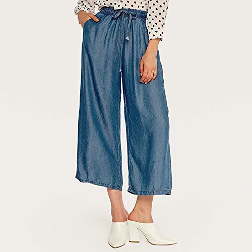 COOOOEENS Neue Sommer Damen Dünnschliff Seide Deep Blue Jeans Hose Damen hohe Taille lose dünne EIS Seide weites Bein Hosen Floral Capri Cropped Pants