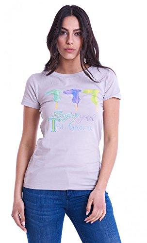 Trussardi jeans t-shirt grigia con stampa loghi (grigio - m)