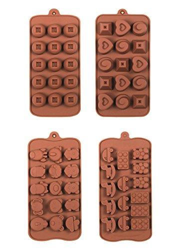 4x Backform Silikon Backform Kuchenform Pralinenform Tortenform Eiswürfel Brotform Förmchen Backformen Schokoladenform