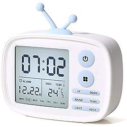 Zartk Réveil pour enfants, Horloges numériques LED pour le salon de la chambre, Réveil, 5 alarmes, Affichage de la température, Chargeur USB, Cadeaux d'anniversaire pour enfants, Ados, Filles, Garçons