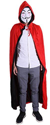 Snsunny Erwachsene Kinder Umhang Kostüm Kapuze Cape Mantel Für Halloween Party Ostern Weihnachten(140cm, Schwarz+Rot)