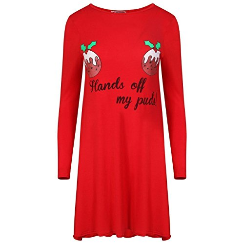 Generic Damen Skater Kleid Red Santa Pudding