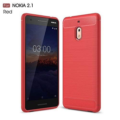 CruzerLite Nokia 2.1 Custodia, Carbon Fiber Shock Absorption Slim TPU Cover for Nokia 2.1 (Red)