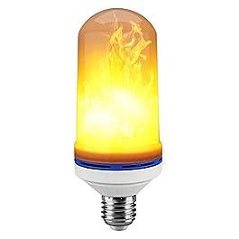 AOLVO simulado llama luces LED efecto llama luz bombilla, E27Bombillas Lámparas LED en forma de vela simulado naturaleza animados parpadeo fuego efecto ambiente luz decorativa para barras/Home/restaurantes/Fiesta/Navidad