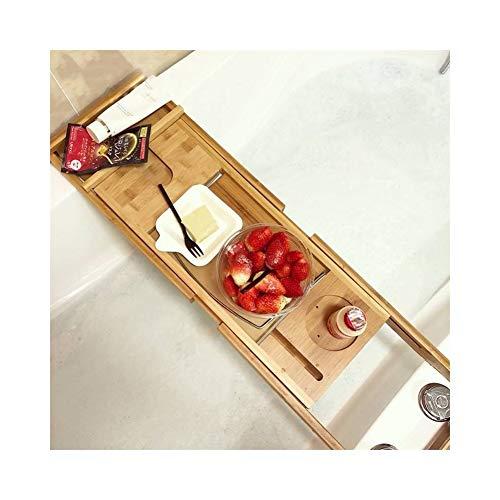 XH Shop Bathtub Shelf Bambus und Holz Handwerk hohlen rechteckigen Bambus Badewanne Rack Regal Bambus Produkte versenkbare Sanitär Badezimmer Regal XXHH -
