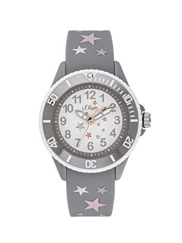 s.Oliver Mädchen Analog Quarz Uhr mit Silikon Armband SO-3925-PQ