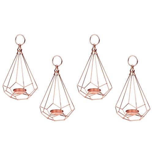 Fenteer 4 Stk. Metall Geometrie Windlicht Laterne Kerzenhalter Zum Aufhängen mit für Teelicht/Kerze