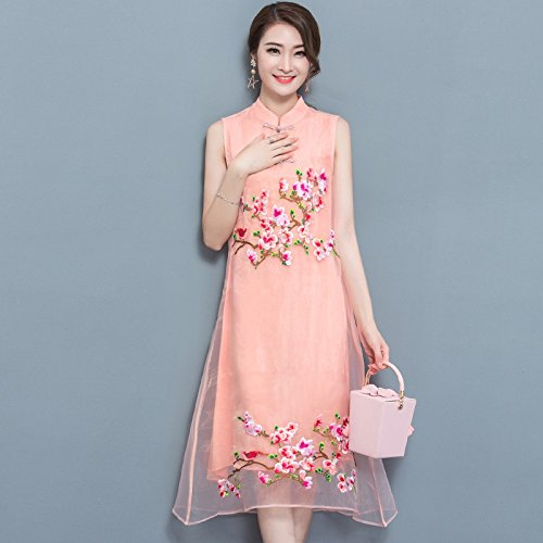 XIU*RONG Robe Cheongsam Robe Brodée Au Printemps Et En Été Lilac
