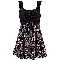 Wantdo Traje de Baño 1 Pieza Impresión Adelgazar Vestido de Playa Mujer Talle Alto Flor de