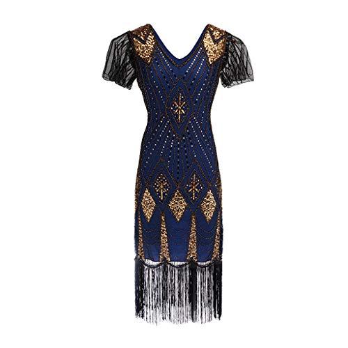 Mitlfuny Karnevalsparty Fancy Festival Zubehör,Damen Kleid mit Pailletten der 1920er Jahre inspiriert Pailletten Perlen Lange Quaste Einsätze Kleid -