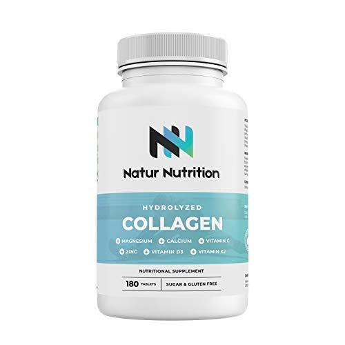 Colágeno con Magnesio. Colágeno hidrolizado con ácido hialurónico, calcio, zinc y vitamina C, D3, K2 para fortalecer articulaciones, cartílagos y piel. 180 comprimidos. Fabricado en la UE.