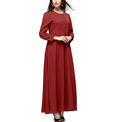 Highdas femmes Retro à manches longues robe nouvelle robe de dame islamique musulmane Bourgogne