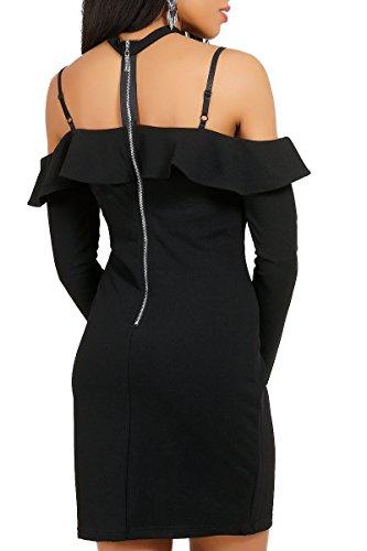 INFINIE PASSION - Col bateau - Robe moulante noire Noir