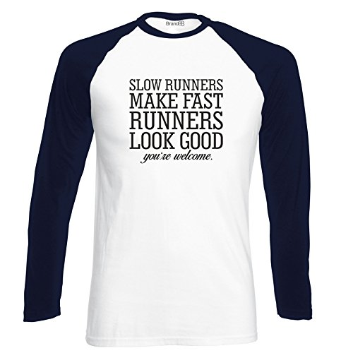 Brand88 - Slow Runners Make Fast Runners Look Good, Langarm Baseball T-Shirt Weiss & Dunkelblau